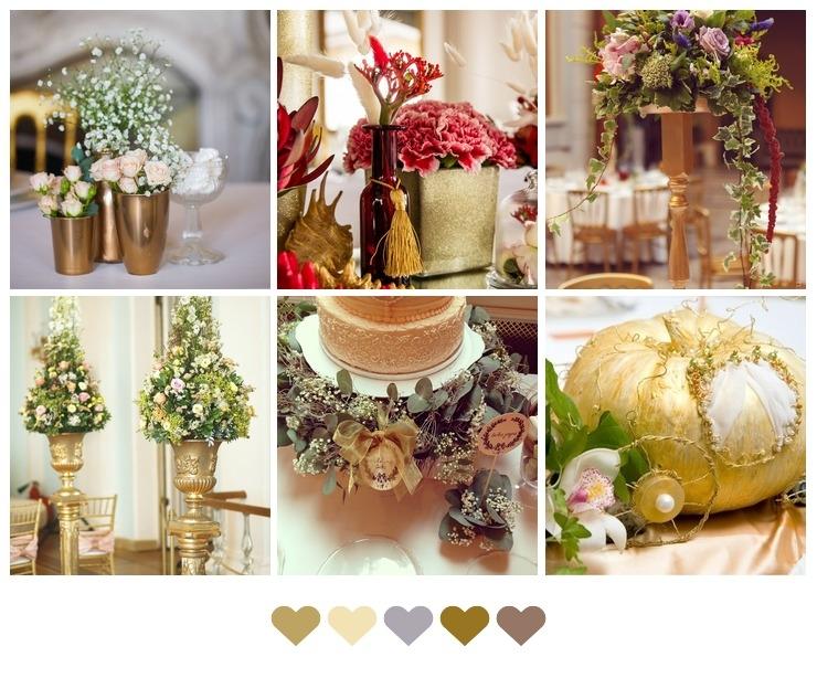 Golden details in wedding decor