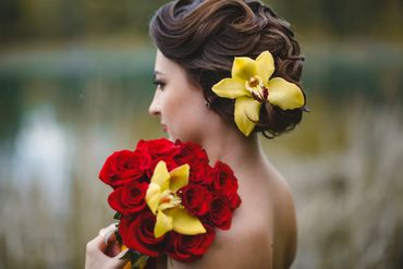 Outdoor yellow bridal style