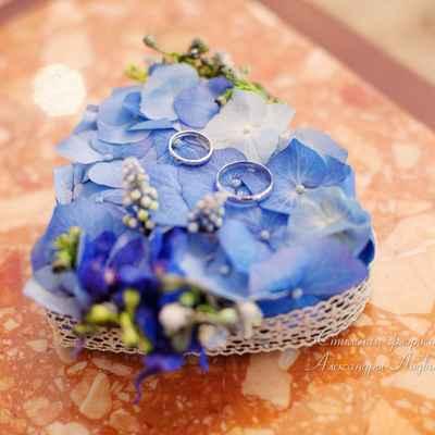 Blue wedding ring pillows