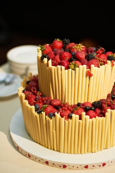 Fruit yellow wedding cakes