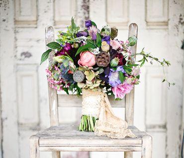 Rustic pink alternative wedding bouquet