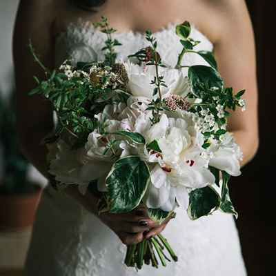 Rustic green peony wedding bouquet