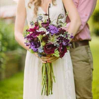 Rustic summer anemone wedding bouquet