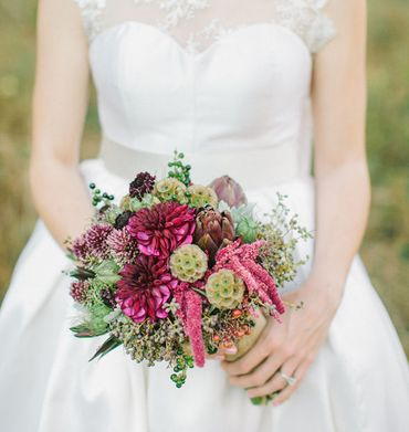 Pink aster wedding bouquet