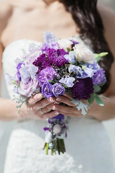 Purple aster wedding bouquet