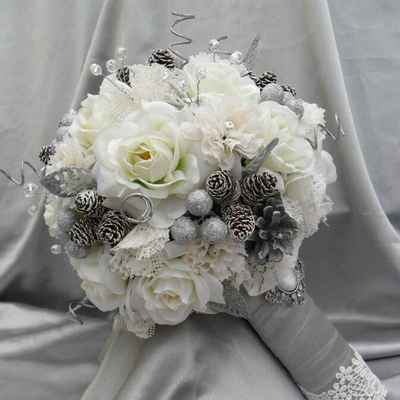Winter grey rose wedding bouquet