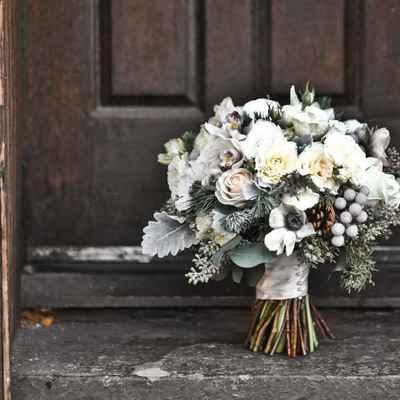 Winter white rose wedding bouquet