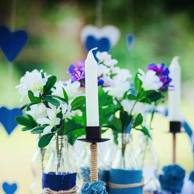 Blue photo session decor