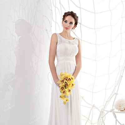 Mediterranean yellow corset wedding dresses
