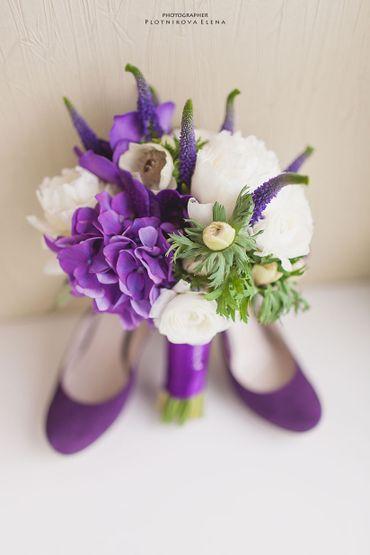 Purple peony wedding bouquet