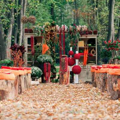 Autumn orange wedding ceremony decor