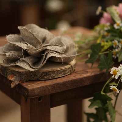 Rustic brown wedding ring pillows