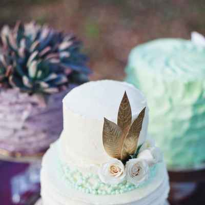 Rustic gold wedding cakes