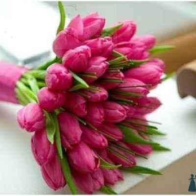 Pink tulip wedding bouquet