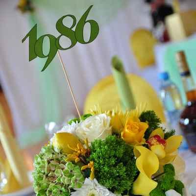 Yellow wedding signs