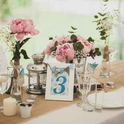 Summer blue wedding reception decor