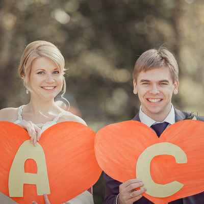 Orange wedding signs
