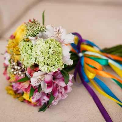 Pink alstroemeria wedding bouquet