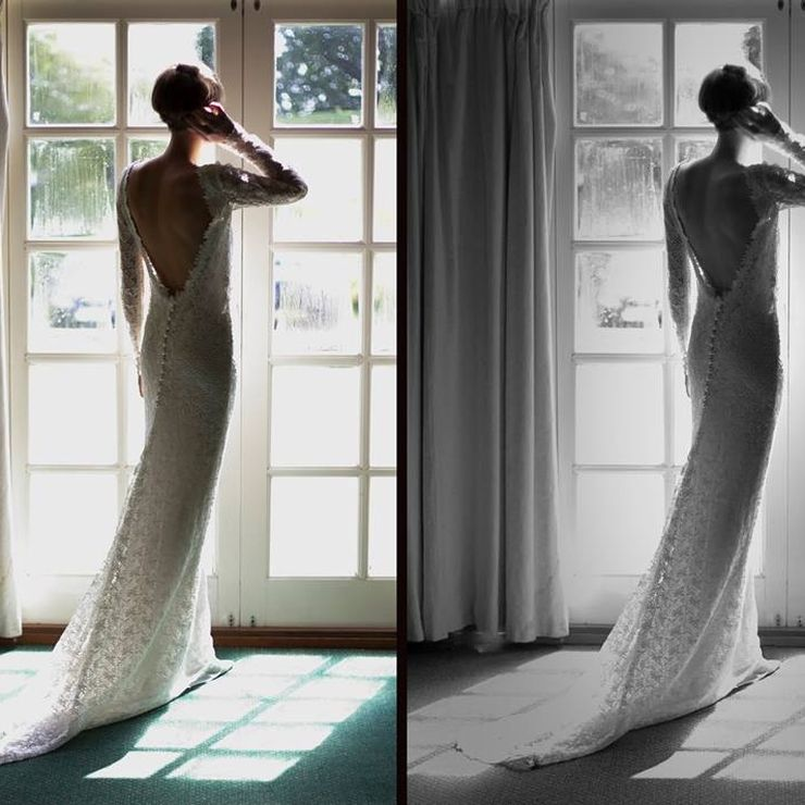 Emily's guipure lace wedding dress