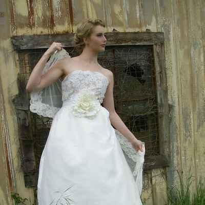 Rustic ivory long wedding dresses
