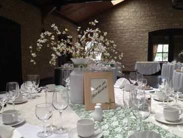 European white wedding reception decor