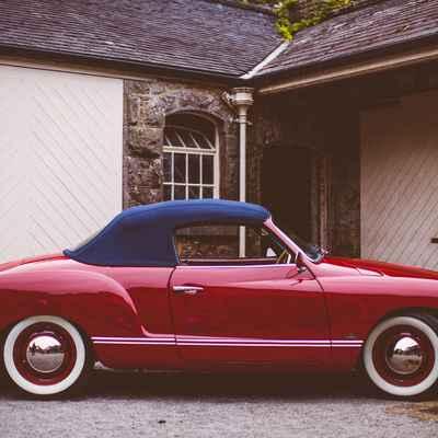 Vintage red wedding transport