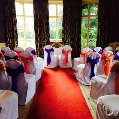 European blue wedding ceremony decor
