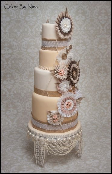 Rustic ivory wedding cakes