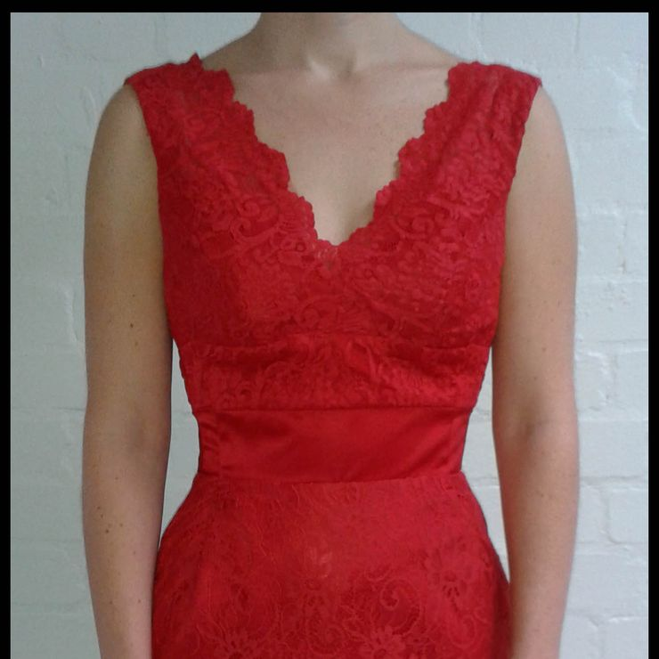 Front and back view of red wedding dress