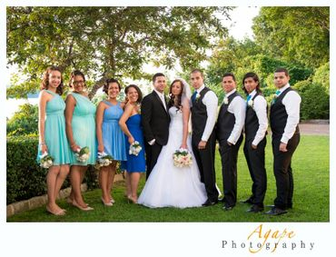 Outdoor summer white bridesmaids