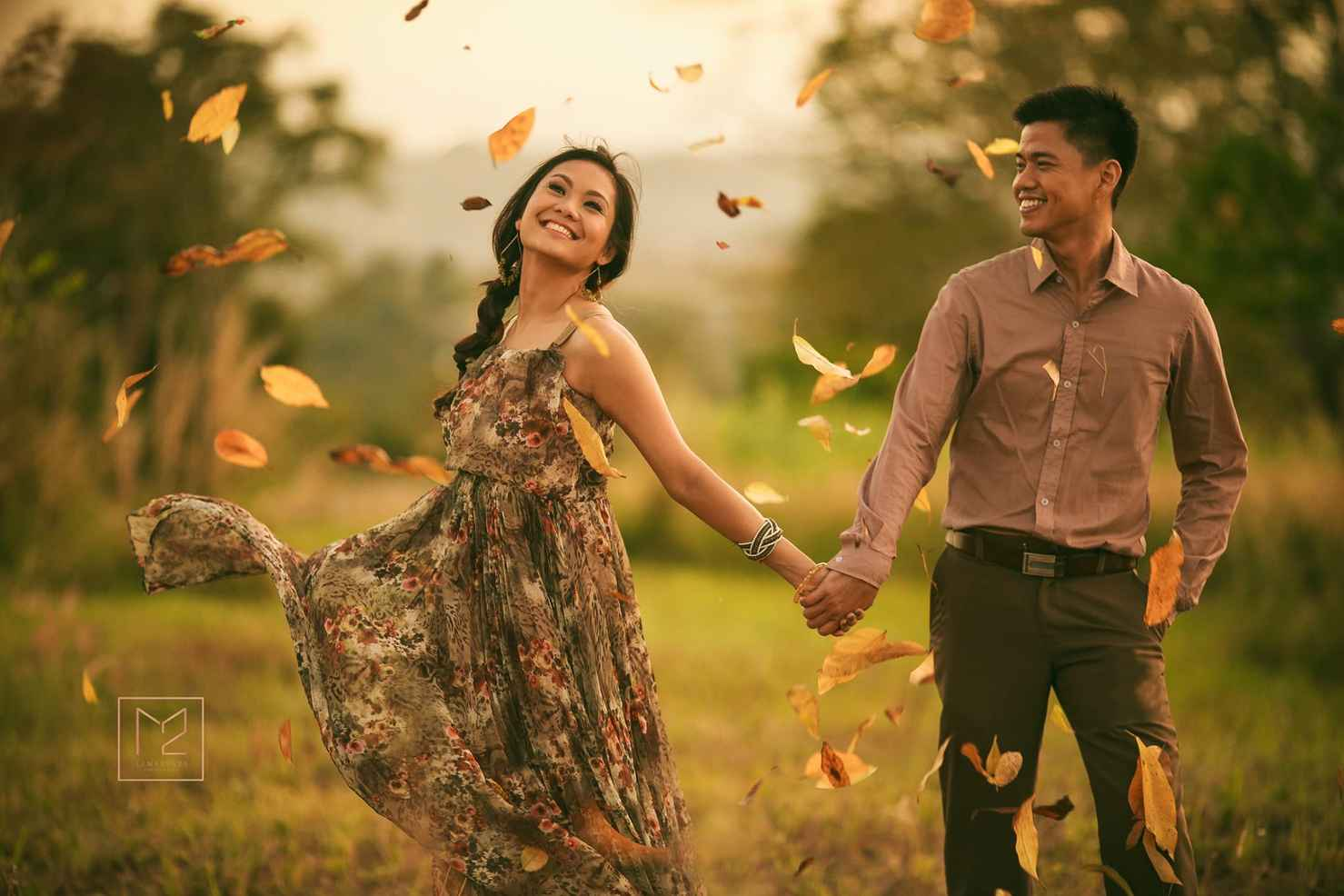 Outdoor autumn brown engagement