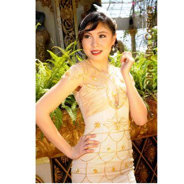 Gold long wedding dresses