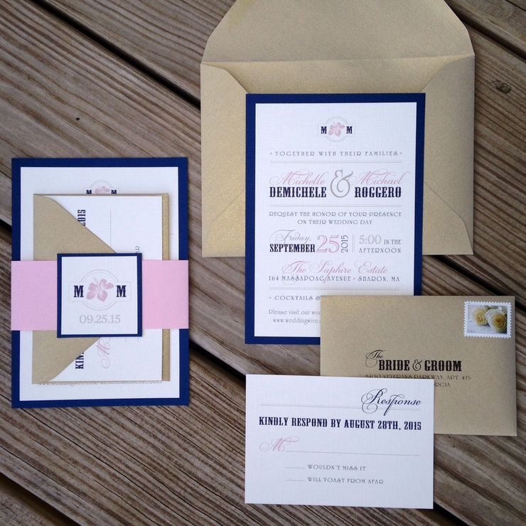 Navy, Blush and Light Gold Wedding Invitation with Monogram Band