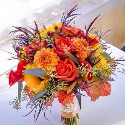 Orange alternative wedding bouquet