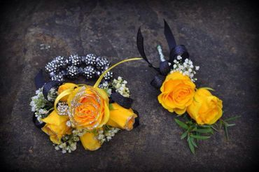 Yellow wedding buttonhole