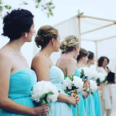 Blue bridesmaids