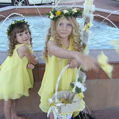 Yellow kids at wedding