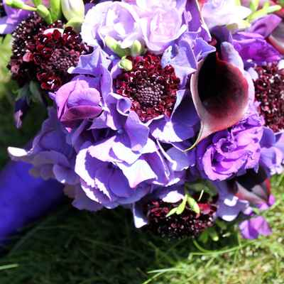 Purple calla wedding bouquet