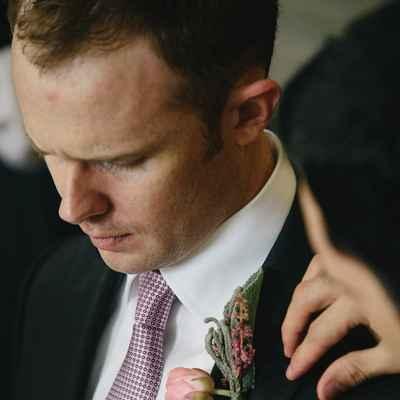 Pink wedding buttonhole