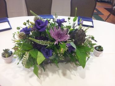 Purple wedding floral decor