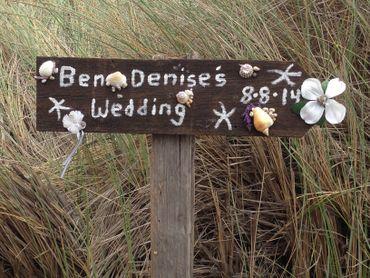 Beach brown wedding signs
