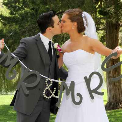 Grey wedding signs