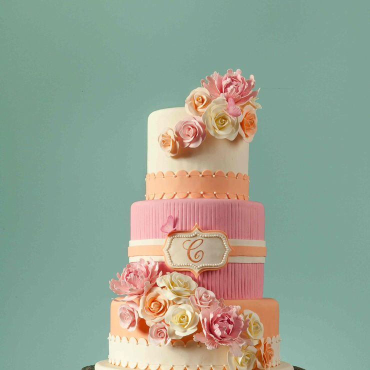 Blush Pink & Peach Floral Wedding Cake