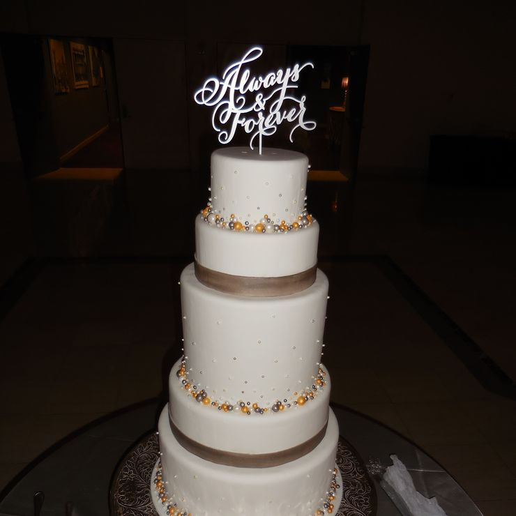 Silver & Gold Pearl Wedding Cake