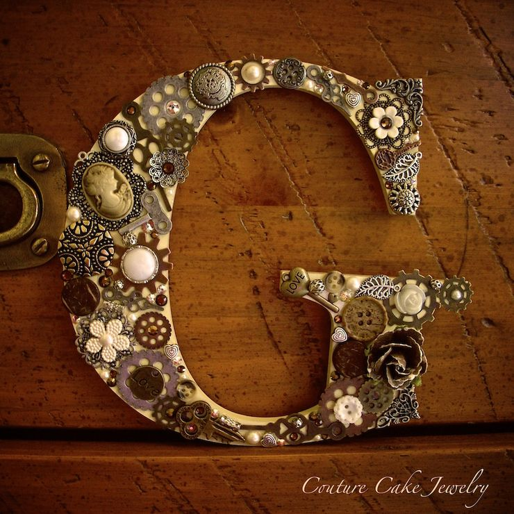 Steampunk Monogram Cake Toppers