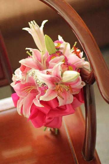 Pink lilly wedding bouquet