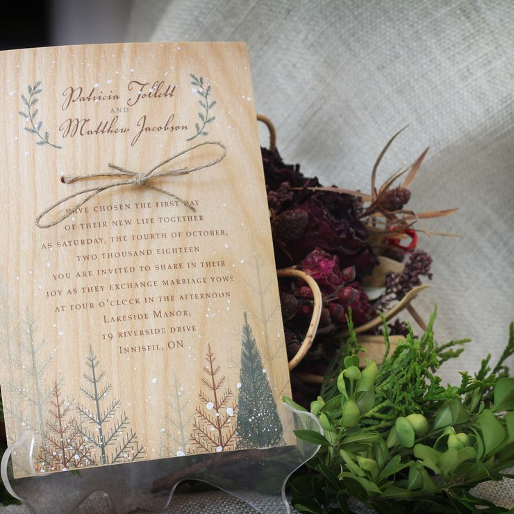 Winter Woods Wedding Invitation Printed on Wood Veneer