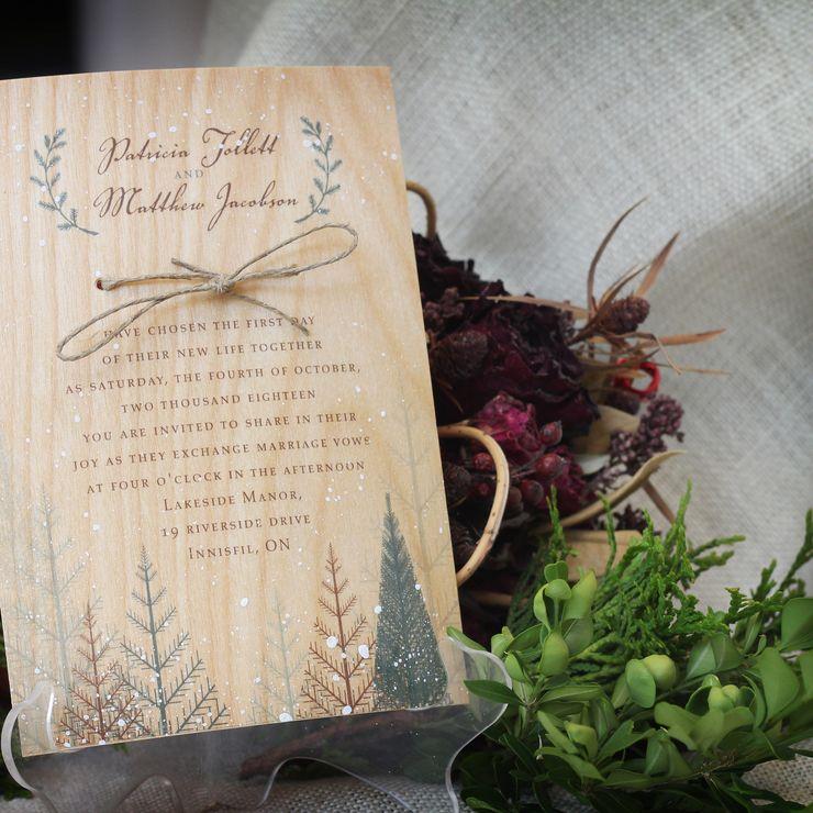 Winter Woods Wedding Invitation Printed on Wood Veneer