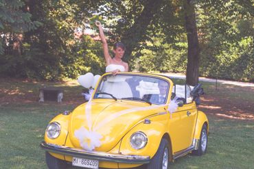 Yellow wedding transport
