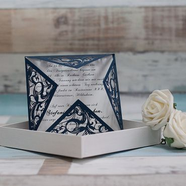 Blue wedding invitations